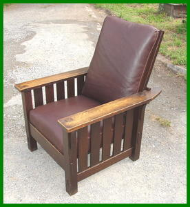 Original L. & J. G. Stickley  Handcraft Morris Chair with Slats to the Floor